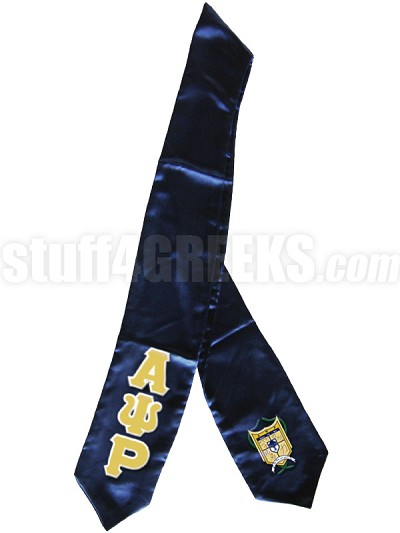 Alpha Psi Rho Satin Graduation Stole with Greek Letters and Crest, Navy Blue
