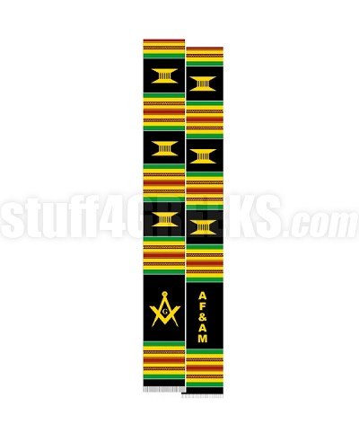 Ancient Free & Accepted Mason Letter Kente Graduation Stole with Square & Compass, Black