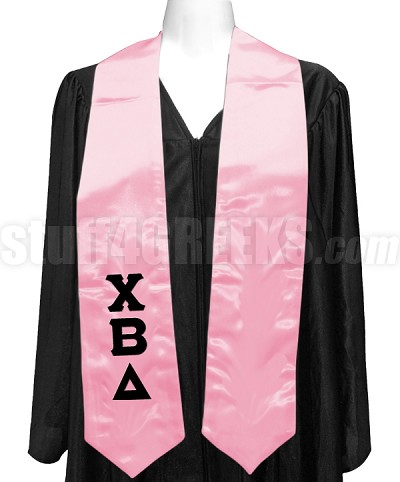 Chi Beta Delta Satin Graduation Stole with Greek Letters, Pink