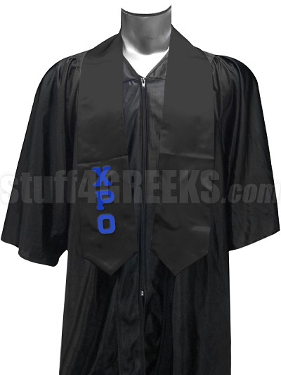 Chi Rho Omicron Satin Graduation Stole with Greek Letters, Black