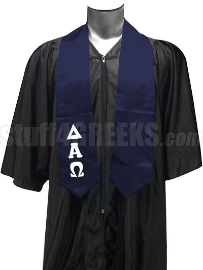 Delta Alpha Omega Satin Graduation Stole with Greek Letters, Navy Blue
