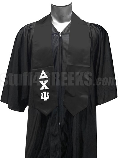 Delta Chi Psi Satin Graduation Stole with Greek Letters, Black