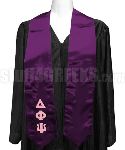 Delta Phi Psi Satin Graduation Stole with Greek Letters, Purple