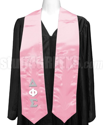 Delta Phi Sigma Satin Graduation Stole with Greek Letters, Pink