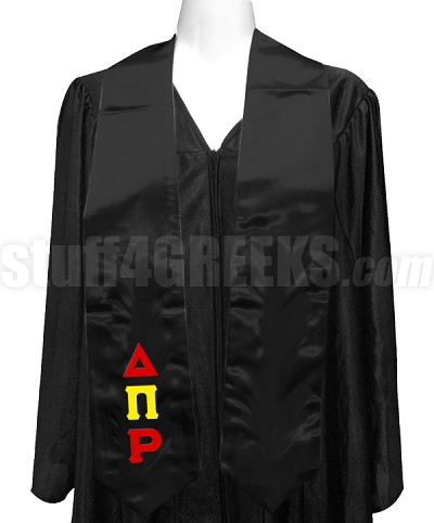 Delta Pi Rho Satin Graduation Stole with Greek Letters, Black