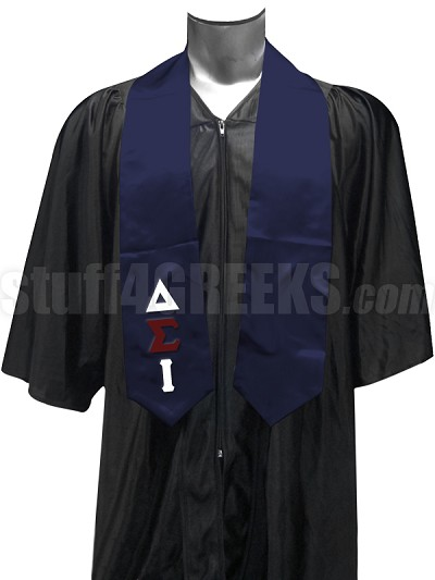 Delta Sigma Iota Satin Graduation Stole with Greek Letters, Navy Blue