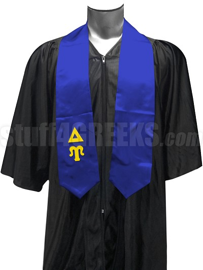 Delta Upsilon Satin Graduation Stole with Greek Letters, Royal Blue