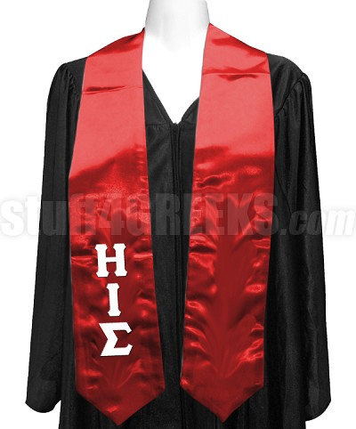 Eta Iota Sigma Satin Graduation Stole with Greek Letters, Red