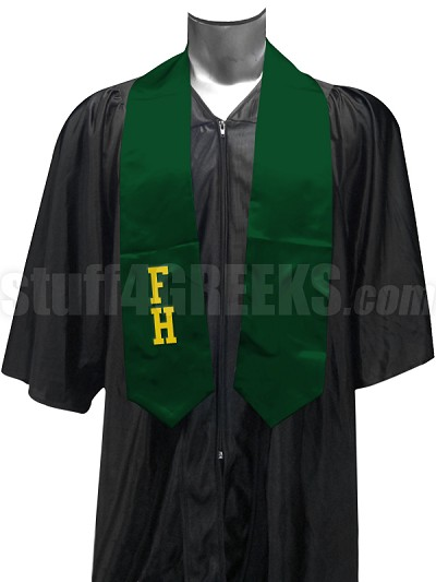 FarmHouse Satin Graduation Stole with Letters, Forest Green