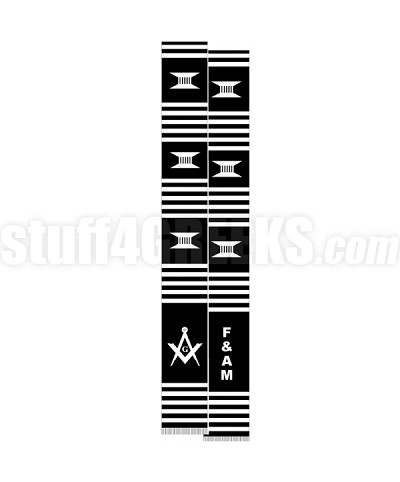 Free & Accepted Mason Kente Graduation Stole with Square & Compass, Black/White