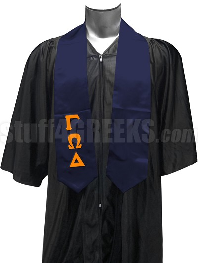 Gamma Omega Delta Satin Graduation Stole with Greek Letters, Navy Blue