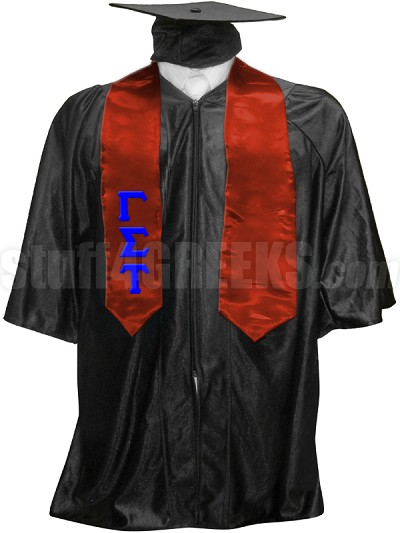 Gamma Sigma Tau Satin Graduation Stole with Greek Letters, Red