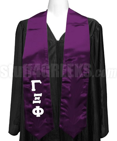 Gamma Xi Phi Satin Ladies Graduation Stole with Greek Letters, Purple
