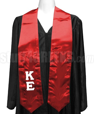 Kappa Epsilon Satin Graduation Stole with Greek Letters, Red
