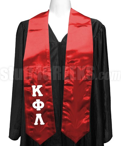 Kappa Phi Lambda Satin Graduation Stole with Greek Letters, Red