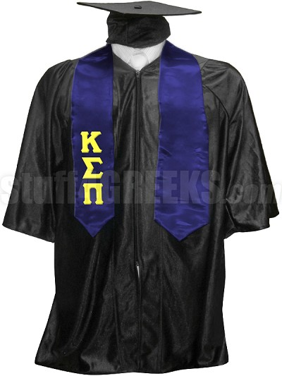 Kappa Sigma Pi Satin Graduation Stole with Greek Letters, Blue