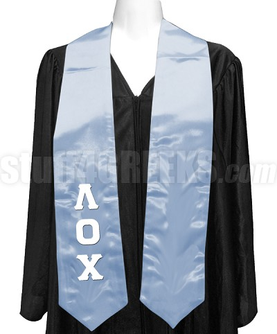 Lambda Omicron Chi Satin Graduation Stole with Greek Letters, Light Blue