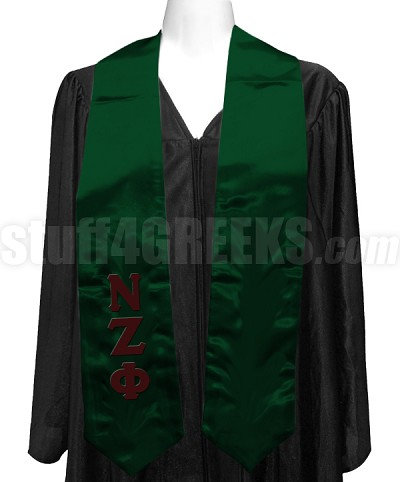 Nu Zeta Phi Satin Graduation Stole with Greek Letters, Fores Green