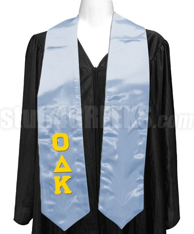 Omicron Delta Kappa Ladies Satin Graduation Stole with Greek Letters, Light Blue