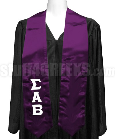 Sigma Alpha Beta Ladies Satin Graduation Stole with Greek Letters, Purple