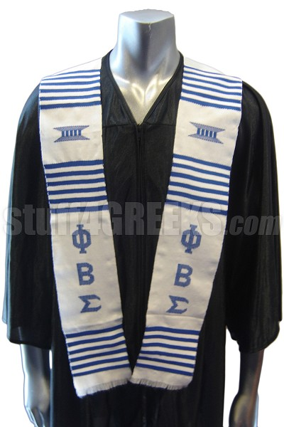 Phi Beta Sigma Kente Graduation Stole, White with Blue Letters