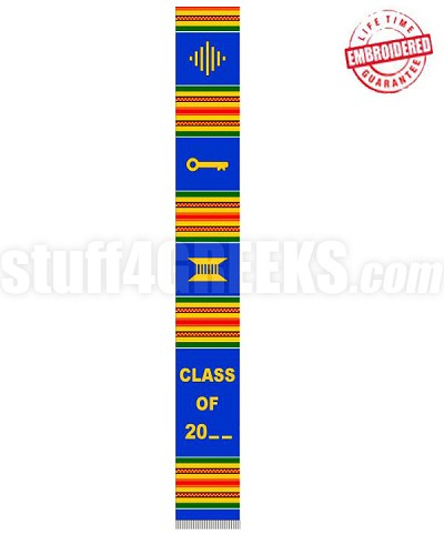 """Class of 20_ _"" Kente Graduation Stole, Red/Royal Blue/Green/Gold - EMBROIDERED with Lifetime Guarantee"