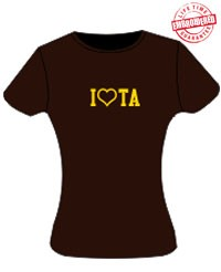 I-Heart-TA Ladies Fitted Tee, Chocolate - EMBROIDERED with Lifetime Guarantee