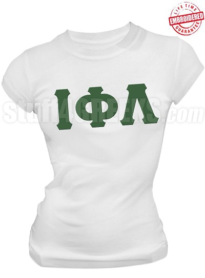 Iota Phi Lambda Greek Letter T-Shirt, White - EMBROIDERED with Lifetime Guarantee