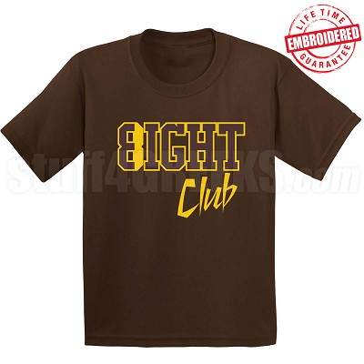 8/Eight Club T-Shirt, Brown/Gold - EMBROIDERED with Lifetime Guarantee