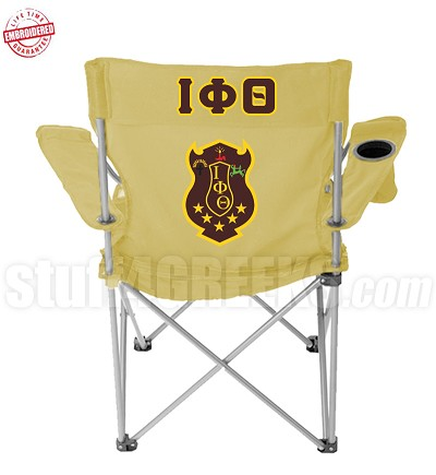 Iota Phi Theta Crest Lawn Chair with Greek Letter, Tan - EMBROIDERED WITH LIFETIME GUARANTEE