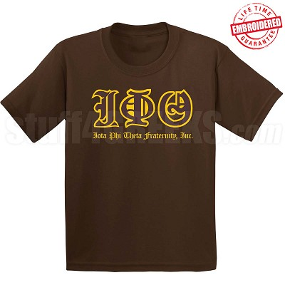 Iota Phi Theta Old English T-Shirt, Chocolate - EMBROIDERED with Lifetime Guarantee