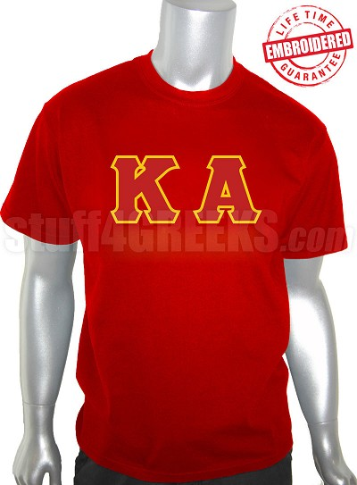 Kappa Alpha Order T-Shirt with Letters, Red - EMBROIDERED with Lifetime Guarantee