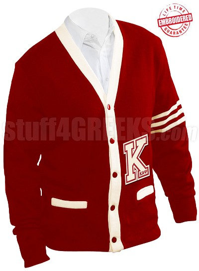 Kappa Alpha Psi Big Varsity Letter Cardigan with Organization Name, Cardinal/Cream (A+)