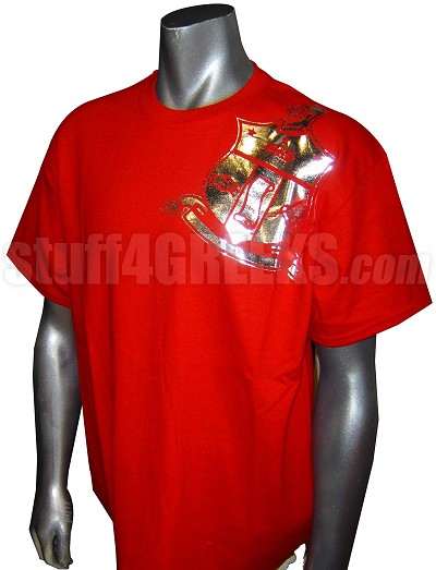Kappa Alpha Psi Metallic Foil Crest Embroidered T-Shirt, Red Shirt with Silver Crest