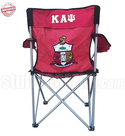 Kappa Alpha Psi Crest Lawn Chair with Greek Letters, Red - EMBROIDERED WITH LIFETIME GUARANTEE