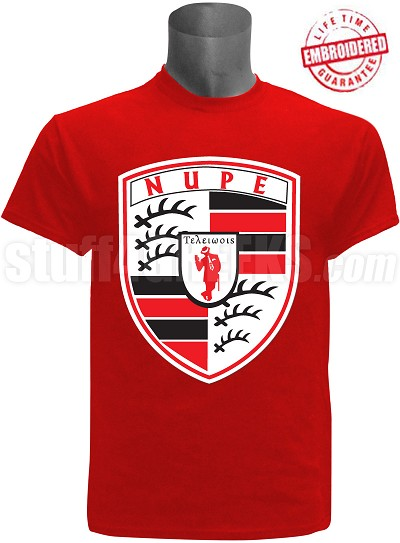 Kappa Alpha Psi T-Shirt with Porsche Inspired Logo, Red - EMBROIDERED with Lifetime Guarantee