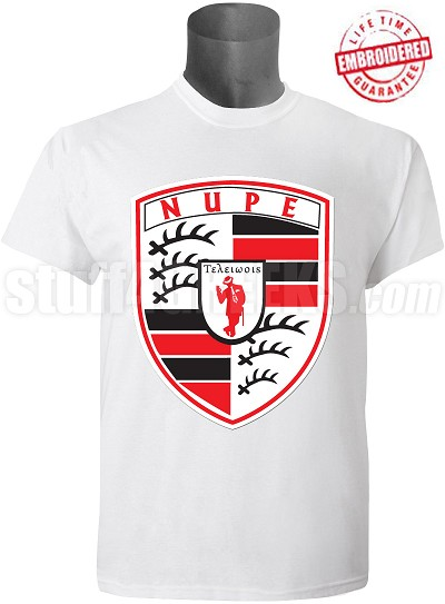 Kappa Alpha Psi T-Shirt with Porsche Inspired Logo, White - EMBROIDERED with Lifetime Guarantee