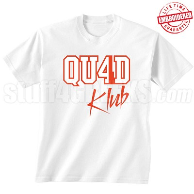 4/Quad Klub T-Shirt, White/Red - EMBROIDERED with Lifetime Guarantee