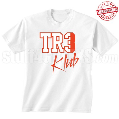 Tre Klub T-Shirt, White/Red - EMBROIDERED with Lifetime Guarantee