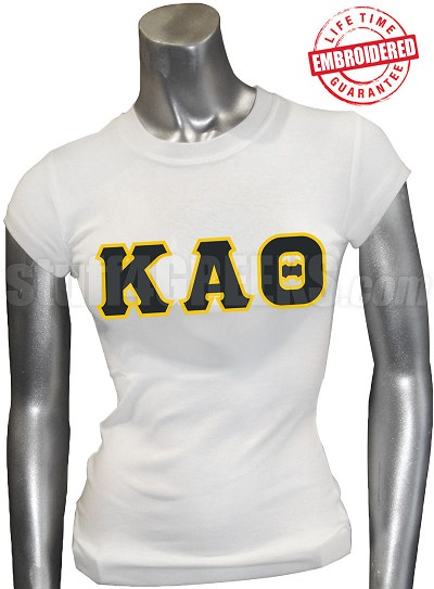 Kappa Alpha Theta T-Shirt with Greek Letters, White - EMBROIDERED with Lifetime Guarantee