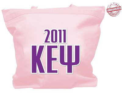 Kappa Epsilon Psi Tote Bag with Greek Letters and Founding Year, Pink