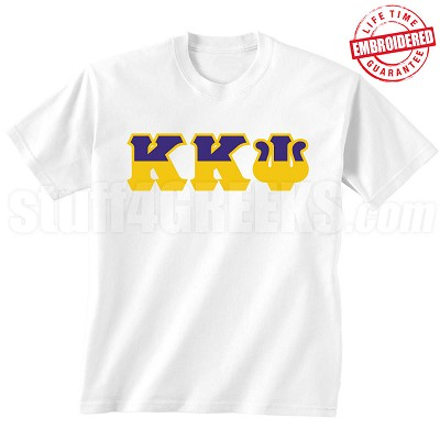 Kappa Kappa Psi Half Letters T-Shirt, White - EMBROIDERED with Lifetime Guarantee
