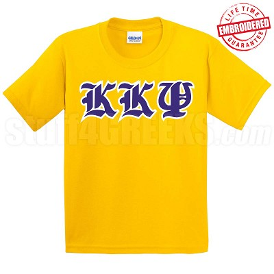KKPsi Old English T-Shirt, Gold - EMBROIDERED with Lifetime Guarantee
