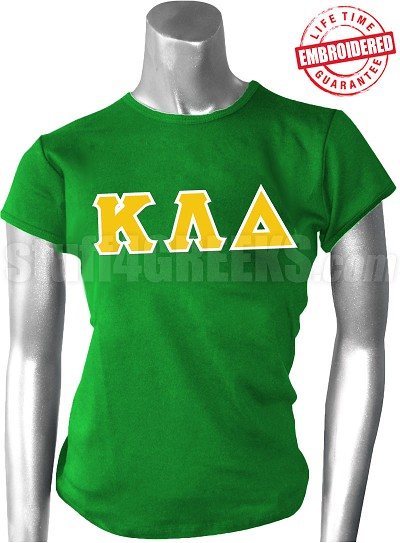 Kappa Lambda Delta Greek Letter T-Shirt, Kelly Green - EMBROIDERED with Lifetime Guarantee