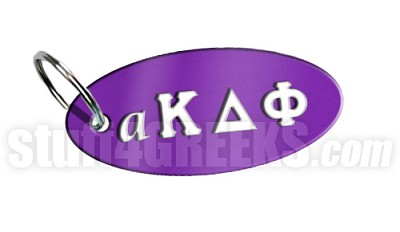 alpha Kappa Delta Phi Key Chain with Greek Letters, Purple