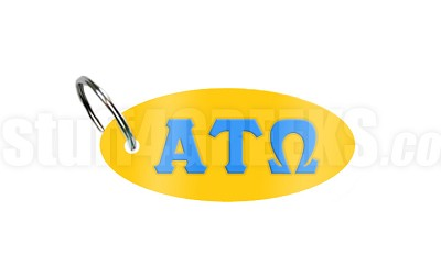 Alpha Tau Omega Key Chain with Greek Letters, Gold