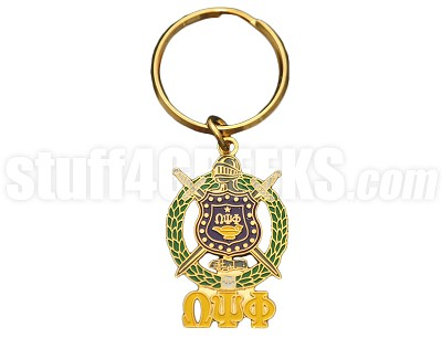"Omega Psi Phi 1.5"" Metal Shield Key Chain with Greek Letters, Full Color"