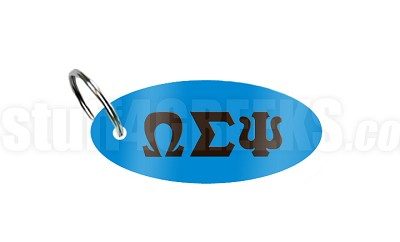 Omega Sigma Psi Key Chain with Greek Letters, Powder Blue