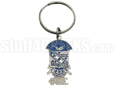 "Phi Beta Sigma 1.5"" Metal Shield Key Chain with Greek Letters, Full Color"