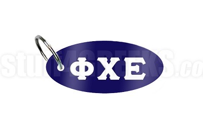 Phi Chi Epsilon Key Chain with Greek Letters, Navy Blue